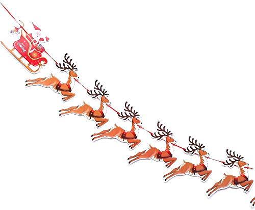 LOKIPA Christmas Reindeer Bunting, Santa Sleigh Banners for Christmas Party Decoration