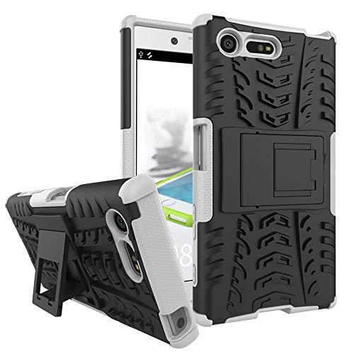 pinlu Funda para Sony Xperia X Compact (4.6 Pulgada) Smartphone Doble Capa Híbrida Armadura Silicona TPU + PC Armor Heavy Duty Case Duradero Protección Neumáticos Patrón Blanco