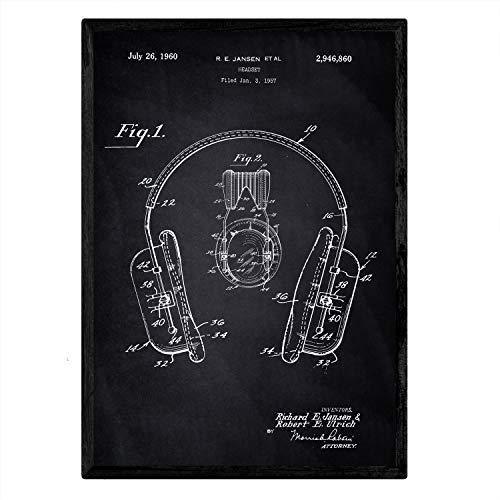 Nacnic Stampa Artistica Vintage su Sfondo Nero Brevetto Cuffie Audio. Progetto Cuffie sonore. Musica e Suoni. Vecchi brevetti. Vecchie invenzioni sonorità.