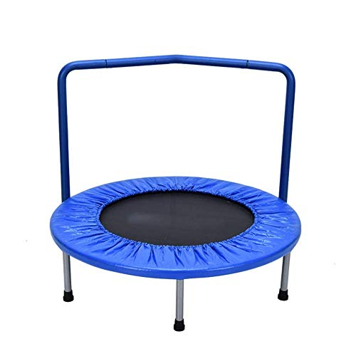 SOPHM5 Rebounder 36' Home Children's Indoor Bounce Bed Small Mini Trampoline Baby Family Bungee Kindergarten Leisure Trampoline with Armrests Blue Max Load 100kg Fitness Trampoline Exercise Equipment
