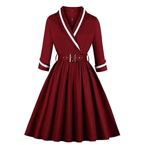 Mujeres Clásico Largo Manga Alinear Vestir, De buen tono Patrón Impresión Balancearse Vestir, Elástico Fiesta Paseo Vestir (Color : Red, Tamaño : M)