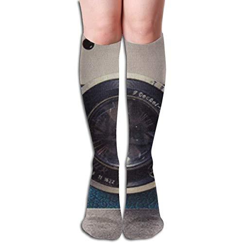 Bosbweo Calcetines hasta la rodilla para mujer Impresos con cámara Escalada Viajes Calentador de piernas para niñas Vestidos Pantalón de punto largo