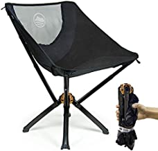 CLIQ Camping Chair - Most Funded Portable Chair in Crowdfunding History.   Bottle Sized Compact Outdoor Chair   Sets up in 5 Seconds   Supports 300lbs   Aircraft Grade Aluminum (Black)