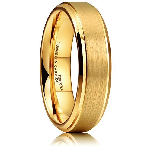 King Will Glory 6mm Tungsten Carbide Ring 14K Gold Matte Brushed Wedding Band Comfort Fit