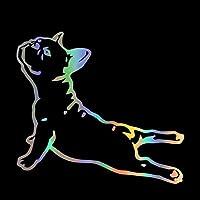 黒い車のステッカー ペット犬の漫画のカーステッカーやデカールカーバンパーステッカー車のスタイリングの装飾ドアボディウィンドウビニールステッカー 自動車&バイク (Color Name : Brushed silver, Size : 1pc)