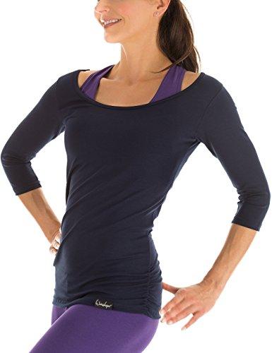 Winshape Top WS4 à Manches 3/4 pour Femme, pour Le Fitness, Le Yoga, Pilates S Bleu Nuit