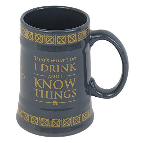 Game of Thrones Krug I Drink And I Know Things 595ml, Keramik, grau, 13.6 x 10.4 x 14.9 cm