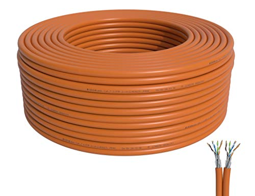 BIGtec 50m CAT7 Verlegekabel Netzwerkkabel Duplex LAN Kabel Installationskabel Verkabelung Datenkabel CAT7 CAT 7 Gigabit BauPVO Eca orange 2x4x2xAWG23