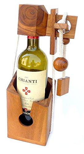Logica Juegos Art. para Los Que No Beben Cuerdas - Rompecabezas Porta Botellas - Rompecabezas de Madera Preciosa - Colleciòn Leonardo da Vinci