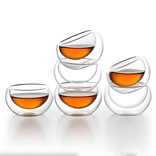 6 Stuk Double Wall Shooting Thee Wijn bierglas Set 50ml hittebestendige Transparant Tea Cup, 6 stuks lili (Color : 6 Pcs)