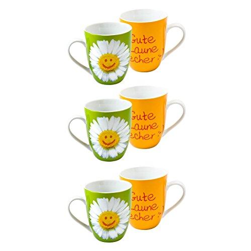 La Vida 9505371 'Gute Laune Kaffeebecher/Tasse 250ml 'Gute Laune Becher :-' (6 Stück)