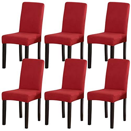 Stuhlhussen 6er Set,Elastische Stretch Stuhlbezug Universal Hussen für Stühle Abnehmbare Waschbar Esszimmerstuhl Beschützer für Esszimmer Hotel-rot-6 Stück