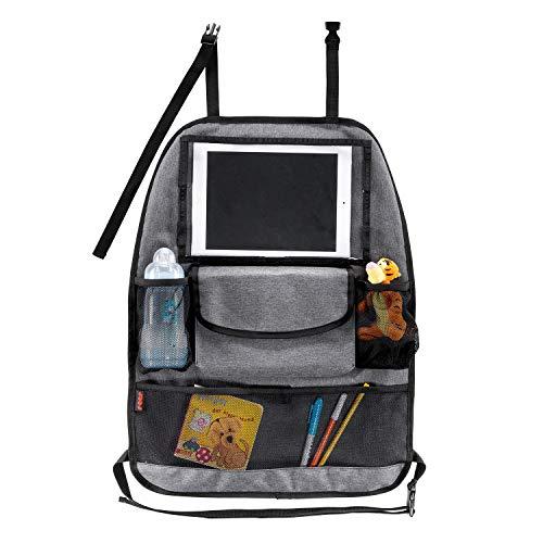 Reer 86051 Organiseur de siège auto TravelKid Entertain, avec compartiment pour tablette, anti-taches, de nombreuses poches, pour tous les sièges de voiture, même les sièges de sport Gris