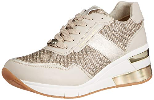 TOM TAILOR Damen 1193804 Sneaker, beige-Gold, 37 EU