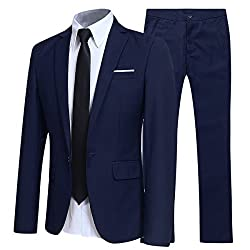 Men's suit: best quality, formal design that offers you a flawless combination of elegant and comfortable. Includes: suit jacket, suit trousers. Occasion: suitable for any occasion, business and work, formula, wedding and party. There is a size chart...