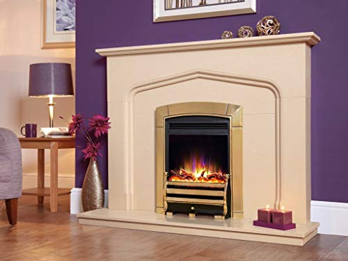 """New Designer Celsi Fire - Electriflame XD Hearth Mounted Electric Fire 16"""" Caress Daisy Brass"""
