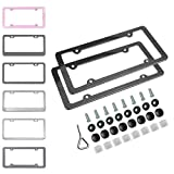 Ibetter 2 pcs Carbon Fiber License Plate Frames, Slim Car Licence Plate Holder Covers with Bolts,Washers and Chrome Screw Caps for US Standard (4 Holes)