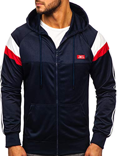 BOLF Herren Kapuzenpullover mit Reißverschluss Sweatshirt Zip Hoddie Street Style RED Fireball 8996 Dunkelblau XXL [1A1]