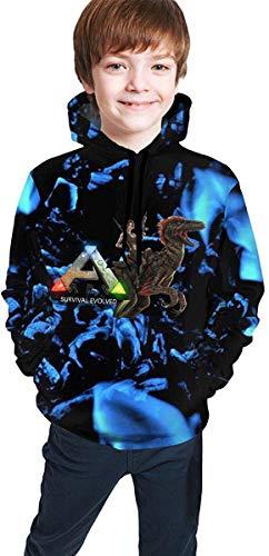 CHICLI Jugend Jungen ARK-Survival-Evolved Logo Bekleidung Kapuzenpullover Hoodie Langärmliges Sweatshirt Pullover Für Jungen Black