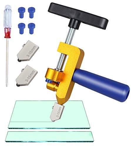 Glasschneider Werkzeug, Genround 2 in 1 Glasschneide Set mit zusätzlichen 2 Schneidklingen, Glasbrechzange Glas Fliesenschneider für Glas, Spiegel, Keramikfliesen, glasierte Fliesen