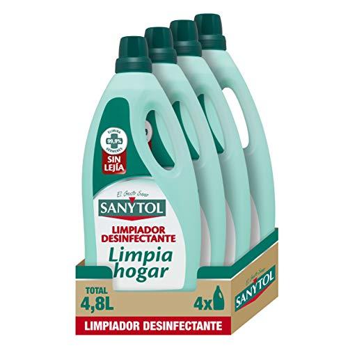 Sanytol – Botella Desinfectante Limpiahogar, Elimina Bacterias, Hongos y Virus Sin Lejía, Perfume Eucaliptus - Pack de 4 x 1.200 ML = 4,8L