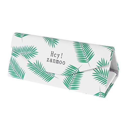 TOYANDONA Caja Plegable Linda para Gafas Caja de plástico Plegable portátil con Forma de triángulo para Gafas Gafas de Sol Eyeglasse (Hojas Verdes)