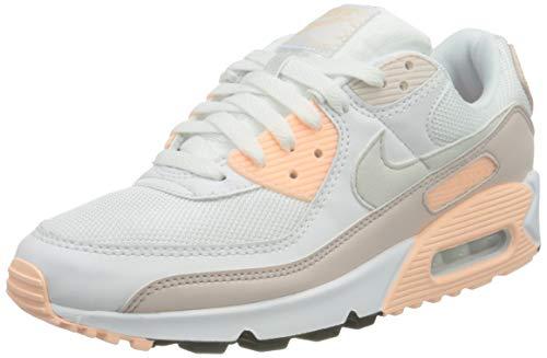 Nike W Air MAX 90, Zapatillas para Correr Mujer, White Platinum Tint Barely Rose, 39 EU
