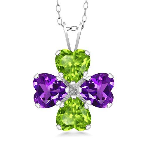 Gem Stone King 2.96 Ct Heart Shape Green Peridot Purple Amethyst 925 Sterling Silver Pendant