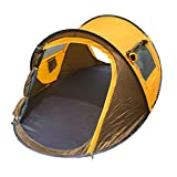 WUDLINDY Instant Set Up 2 Person Lightweight Waterproof Automatic Pop up Camping Glamping and Backpacking Hiking Tent with Footprint for Family Traveling Shelter (Yellow)