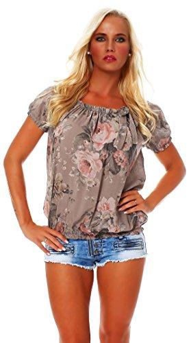 ZARMEXX Damen Bluse Oberteil Shirt Blumenmuster Carmenbluse Kurzarmshirt Viskose *BIG ROSE*, One Size Gr.36-40, Cappuccino