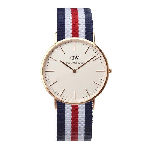 Daniel Wellington Classic Canterbury, Reloj Azul-Blanco-Rojo/Oro Rosado, 40mm, NATO, para Hombre