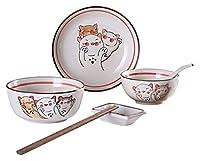 HCHENX ボウル日本の食器セットかわいい手描きの猫のフルーツスープボール浅いトレイクリエイティブセラミック1人のカトラリーキッチン