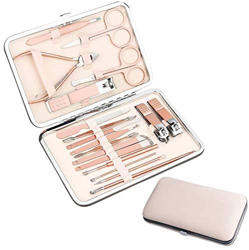 Manicureset 18-delige nagelknipper-set Professionele pedicure-verzorgingshulpmiddelen met koffer, roestvrijstalen verzorgingsgereedschap voor op reis
