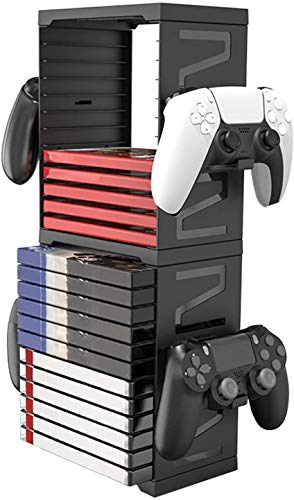 Estante de almacenamiento de disco de juego PS5, caja de almacenamiento multifuncional con mango de disco de doble capa para PS5 PS4 XBOX NS Rack de almacenamiento