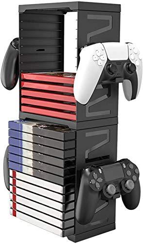 PS5 Game Disc Box Storage Rack, Doppelschicht PS5 Disk Handle MultifunktionsSpeicher Tower kann 24 Game Discs, 4 Controller, 2 Headsets und andere, für PS5 PS4 XBOX NS Speicher-Rack speichern