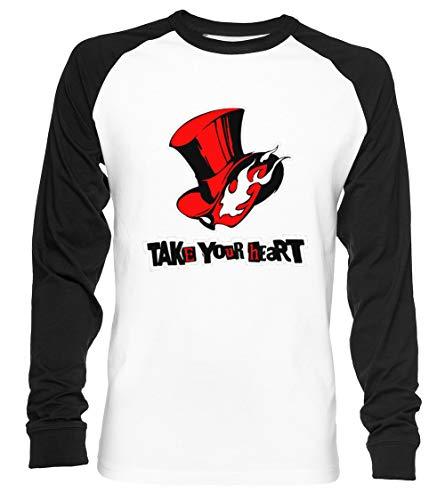 Persona 5 - Take Your Heart - Persona 5 Unisex Baseball T-Shirt Langarm Herren Damen Weiß Schwarz