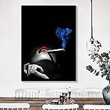 wZUN Poster e Stampe di Ritratti in Bianco e Nero di Donne Sexy Che fumano Labbra Rosse su Tela per la Decorazione della casa del Soggiorno 60x90 Senza Cornice