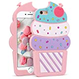 Megantree Cute iPhone 6 Plus Case, iPhone 6S Plus Cases, 3D Cartoon Ice Cream Cherry Cupcakes Shaped Soft Silicone Rubber Full Protection Shockproof Case Cover for Girls Kids Women Lady