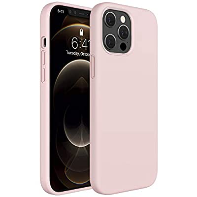 Miracase Compatible with iPhone 12 Pro Max Case 6.7 inch(2020 Release),Liquid Silicone Case Gel Rubber Full Body Protection Shockproof Drop Protection Case(Sand Pink)