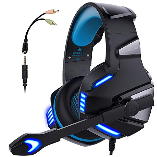 Gaming Headset, PS4 Headaset PC Kopfhörer mit Mikrofon Noise Cancelling Over Ear Gaming Kopfhörer, Stereo Sound Xbox One Headset mit LED-Licht 3.5mm für Laptop Playstation 4 Tablet Switch Cell Phones