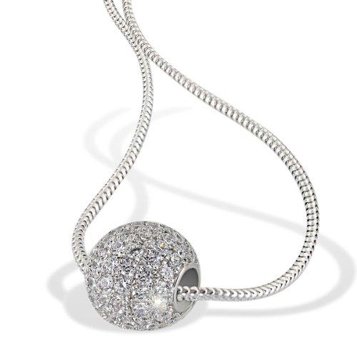 Goldmaid Damen-Halskette Pavee Kugel 925 Sterlingsilber 92 Zirkonia Kristalle Schmuck