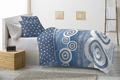 Energy Colors Textil - Hogar - Grecia - Relleno Nórdico 350 gr Reversible Estampado Tacto Pluma Otoño/Invierno (Miney Azul, 250_x_260_cm (Cama 150))