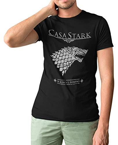 Camisetas La Colmena 162- Parodia Casa Stark (Negra,L)