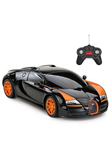 RASTAR Bugatti RC Car, 1/24 Scale Bugatti Veyron 16.4 Grand Sport Vitesse Radio Remote Controlled Model Toy Car, Black/Orange