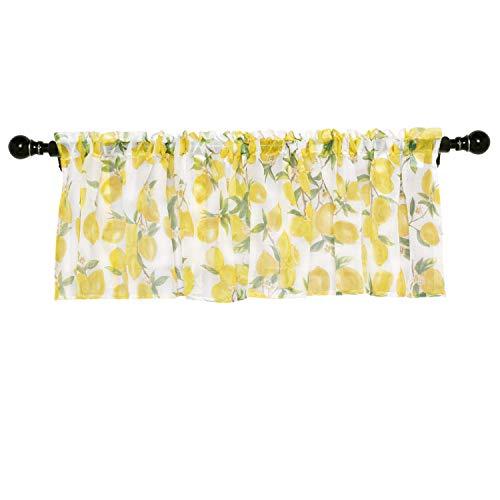 Molaxhome Linen Valances for Windows 52x18 inch, Tie Up Printed Valances Rod Pocket 1 Panel for Kitchen Bathroom Bedroom(Yellow Lemon, Sheer)