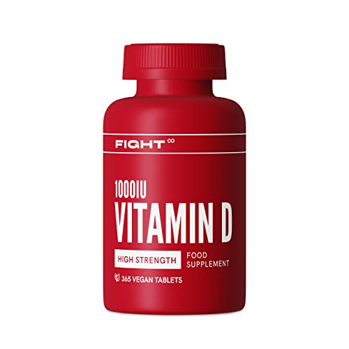 Vitamin D 1000iu Tablets by FIGHT | 365x Vegan Vitamin D Tablets | Non-GMO, Gluten-Free Vitamin D High Strength Tablets to Support Your Immune System, and Calcium Absorption | 1 Year Supply