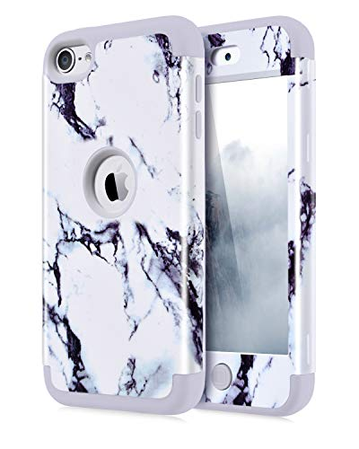 Dailylux iPod Touch 7 Case,iPod Touch 5 Case,iPod Touch 6 Case,3in1 Hybrid Impact Resistant Shockproof Hard Soft Silicone Protective Cover for Apple iPod Touch 5/6/7th Generation Girl/Boys-Marble Grey