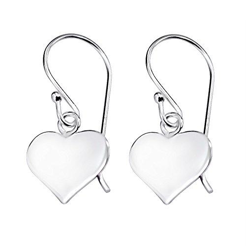 Sterling Silver Dangling Love Heart Gift Earrings - Fish Hook Drop
