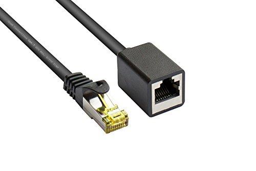 Good Connections Cat.5e Ethernet LAN patchkabel met vergrendelingsbescherming RNS, SF/UTP, 100MHz, gigabit-ondersteuning (10/100/1000-Base-T Ethernet-netwerken) - bijvoorbeeld voor patchpanelen, switch, router, modem Cat. 7 - verlengkabel 0,5 m zwart