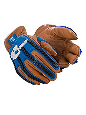 Magid Glove & Safety T-REX TRX843WXXXL Winter Thermal Impact Goatskin Leather Driver Work Glove   Cut Level A7, Puncture 4, 100G Thinsulate, Kevlar Lining, TPR Back, Blue/Brown, Size 12/XXXL